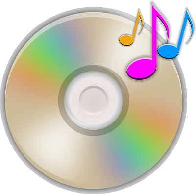 graphic of CD with musical notes