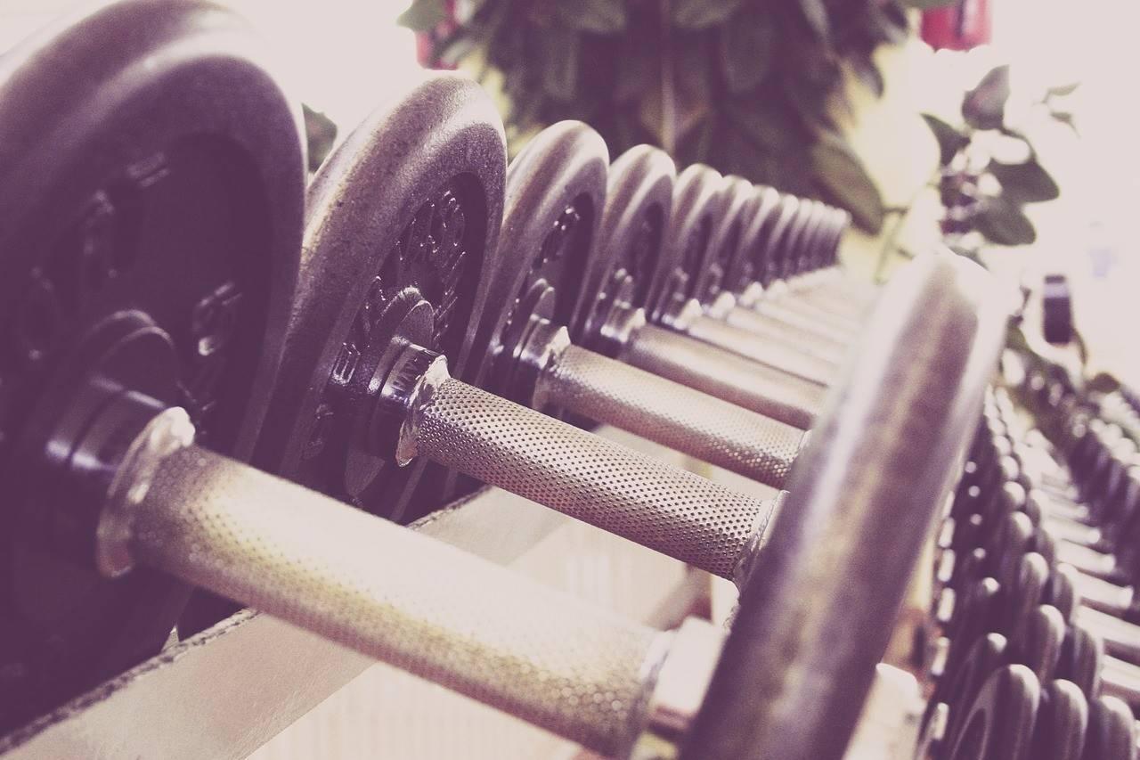 Dumbbells on weight rack