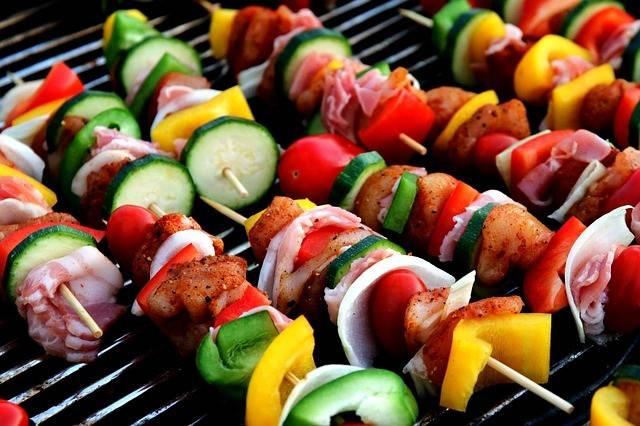 shish kebab on the grill