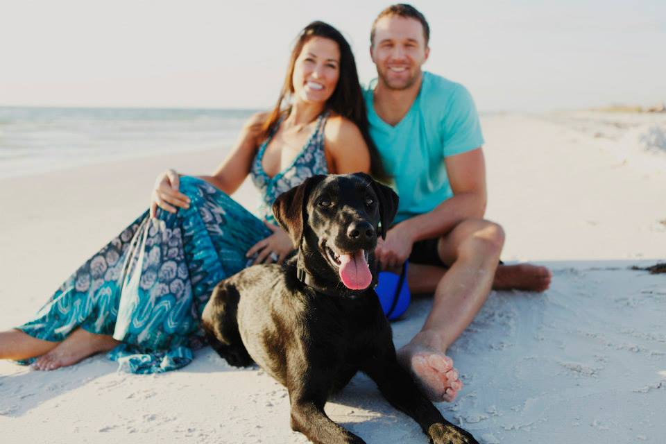 JD with his wife and dog