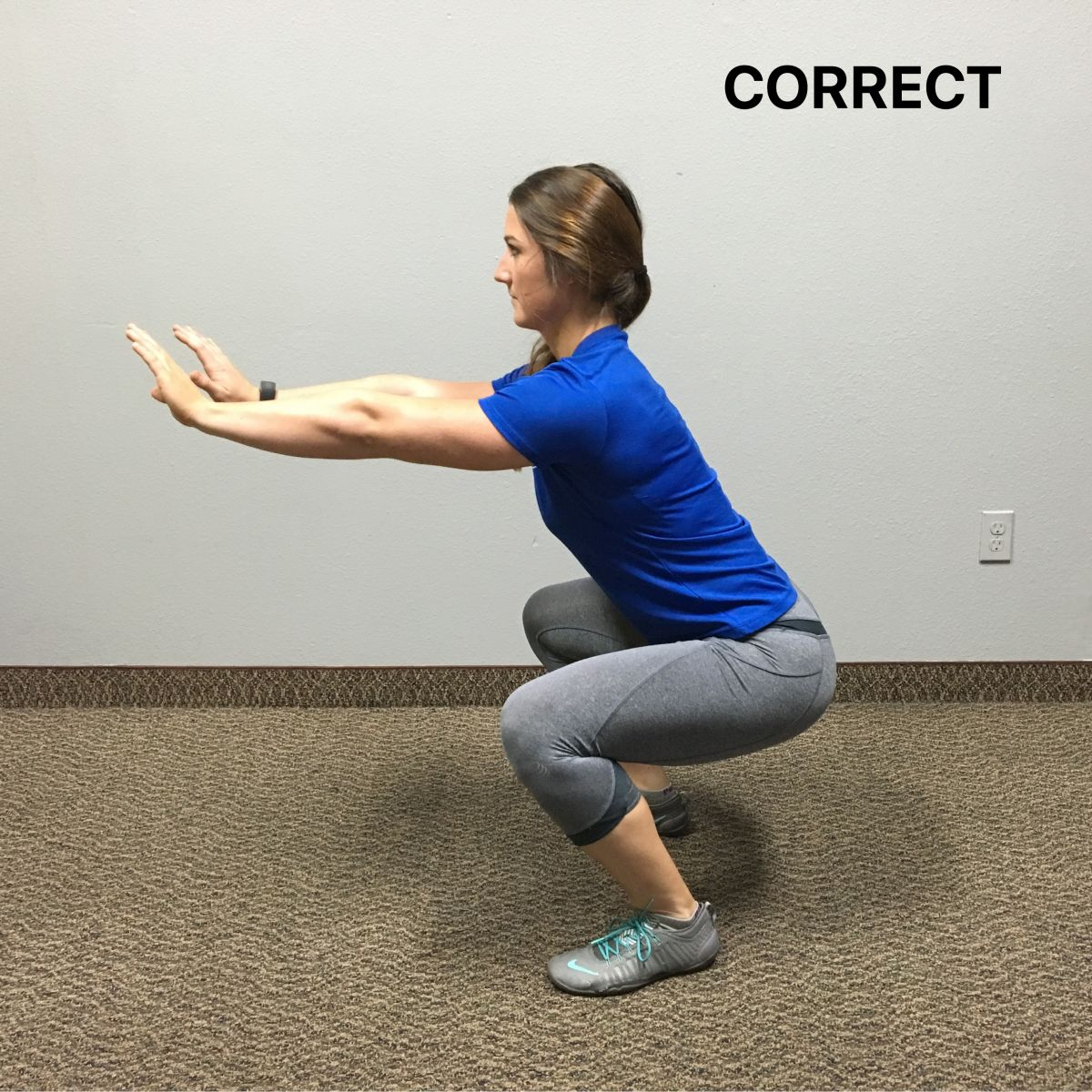 sideview of correct squat position