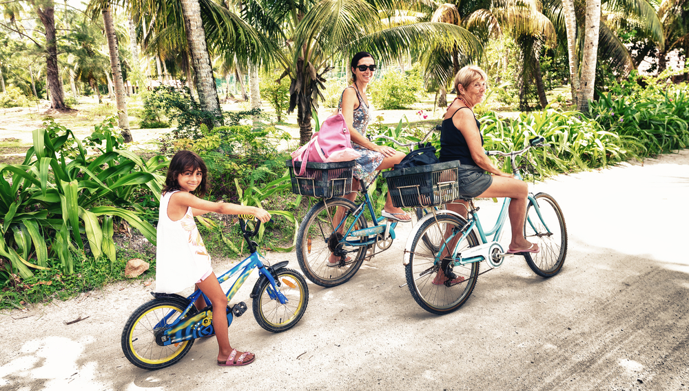 two women and a girl bicycling