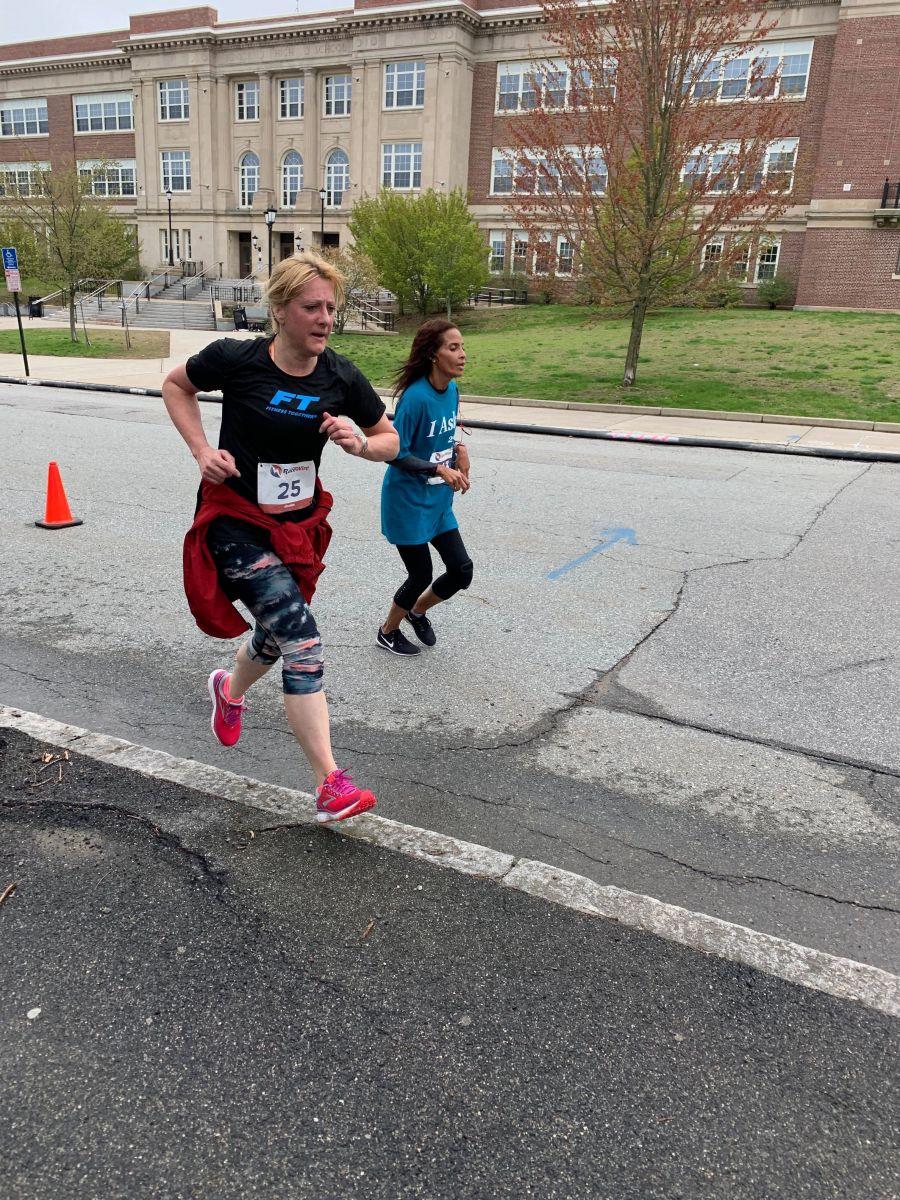 Two women running the 5K