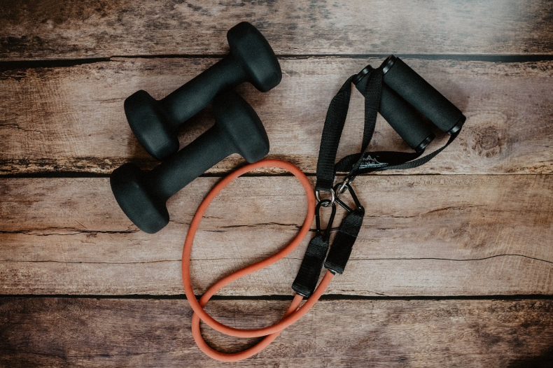 hand weights and jumping rope