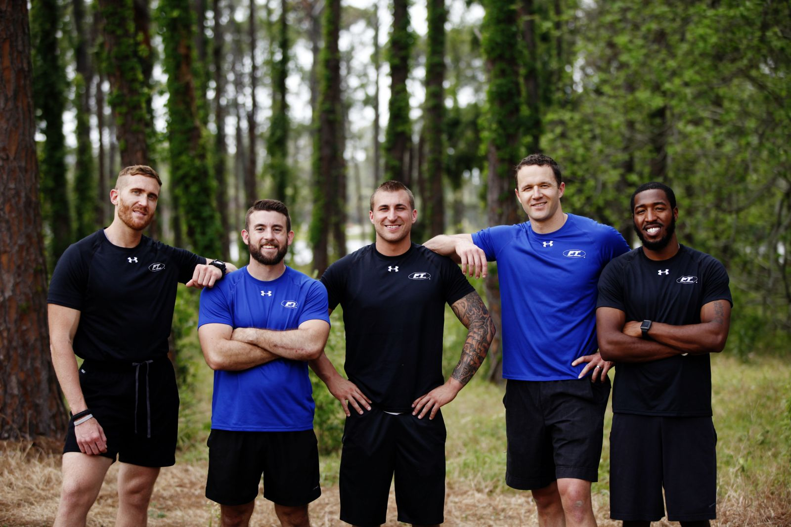 five personal trainers outside
